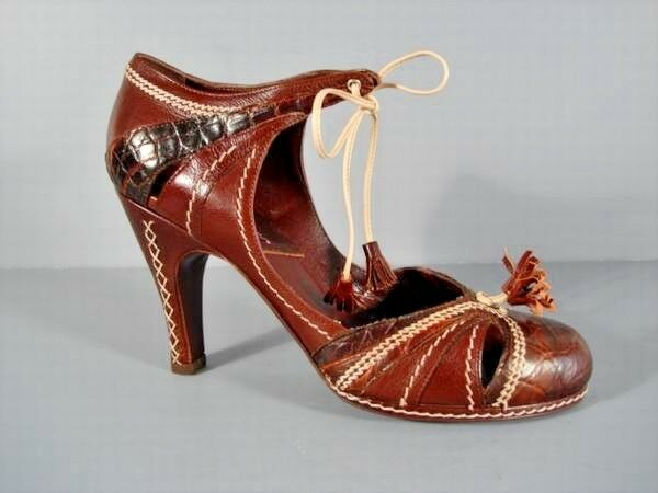 Dior 36  Brown Leather Crocodile Mary Jane Vintage Pumps Sturdy Heels Authentic