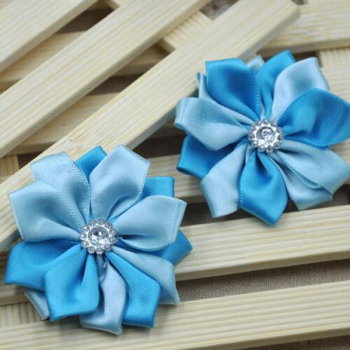 20pcs Big Ribbon Flowers W//Crystal leaf Appliques Wedding Deco Craft A267