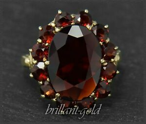 Granat-Damen-Ring-aus-333-Gold-11ct-rote-Granate-Cocktailring-Gelbgold