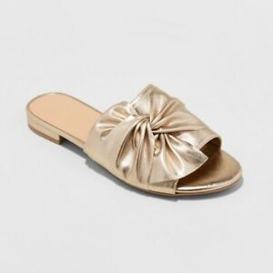 bf2c9efae Details about A New Day Women s Huntress Shiny Metallic Knotted Slide Slip-on  Sandals
