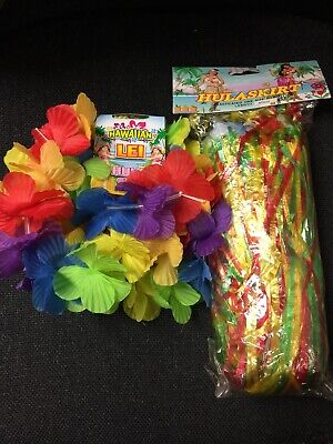 Kids Flower Hula Skirt Lei Wristband Hawaiian Grass Garland Fancy Dress Costume