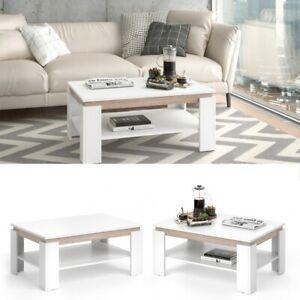 Dettagli su Tavolino da Soggiorno Moderno in 3 diversi colori 90x41x60 cm  Doppio Ripiano