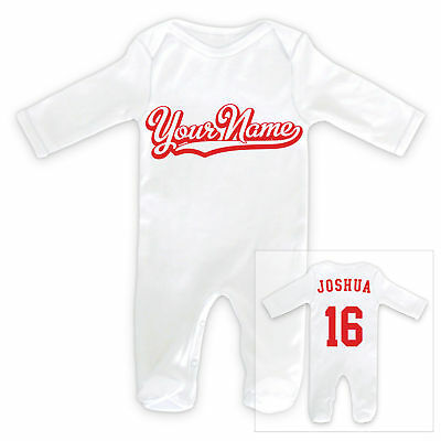 Personalisierter Name beidseitig Sportautos Baby Schlafanzug Strampler
