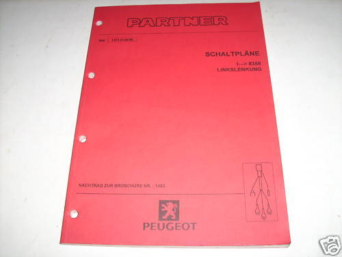 Workshop Manual Peugeot Partner Electricity Wiring Diagrams Edition 1999