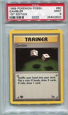 Pokemon Fossil Set 1st Edition Card Trainer Gambler 60//62 Mint