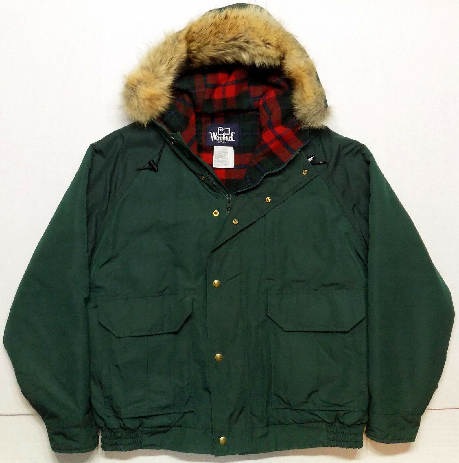 Woolrich Thinsulate Insulated Wool Lined Parka Coat w/Coyote Fur Ruff  Herren Large