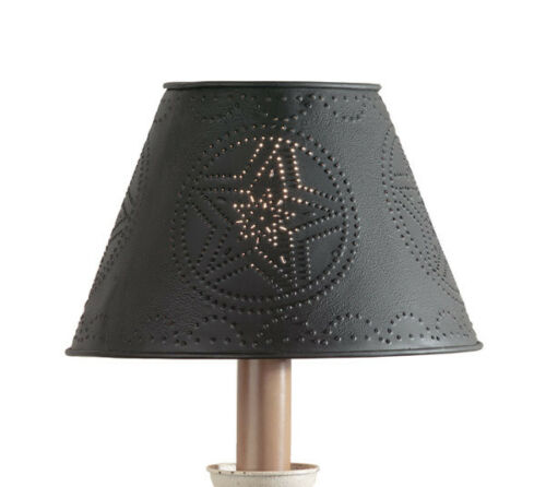 """New Primitive Decor Punched Tin Metal Star Lamp Shade Black Park Designs - 12"""""""