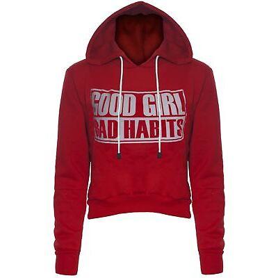 Womens Ladies Good Girl Bad Habits Print Fleece Cropped Hoody Hooded Sweatshirts