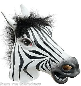 Details about Mens Ladies Zebra Rubber Face Mask Animal Halloween Fancy  Dress Costume Outfit