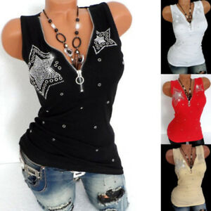 Women-Summer-Sleeveless-Vest-Tank-T-Shirt-Blouse-Ladies-Zipper-Rhinestones-Top-B