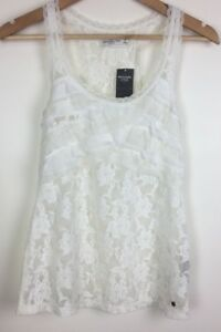 Abercrombie-and-Fitch-Women-s-Nylon-Lace-Look-Off-White-Singlet-XS-NWT-RRP-49