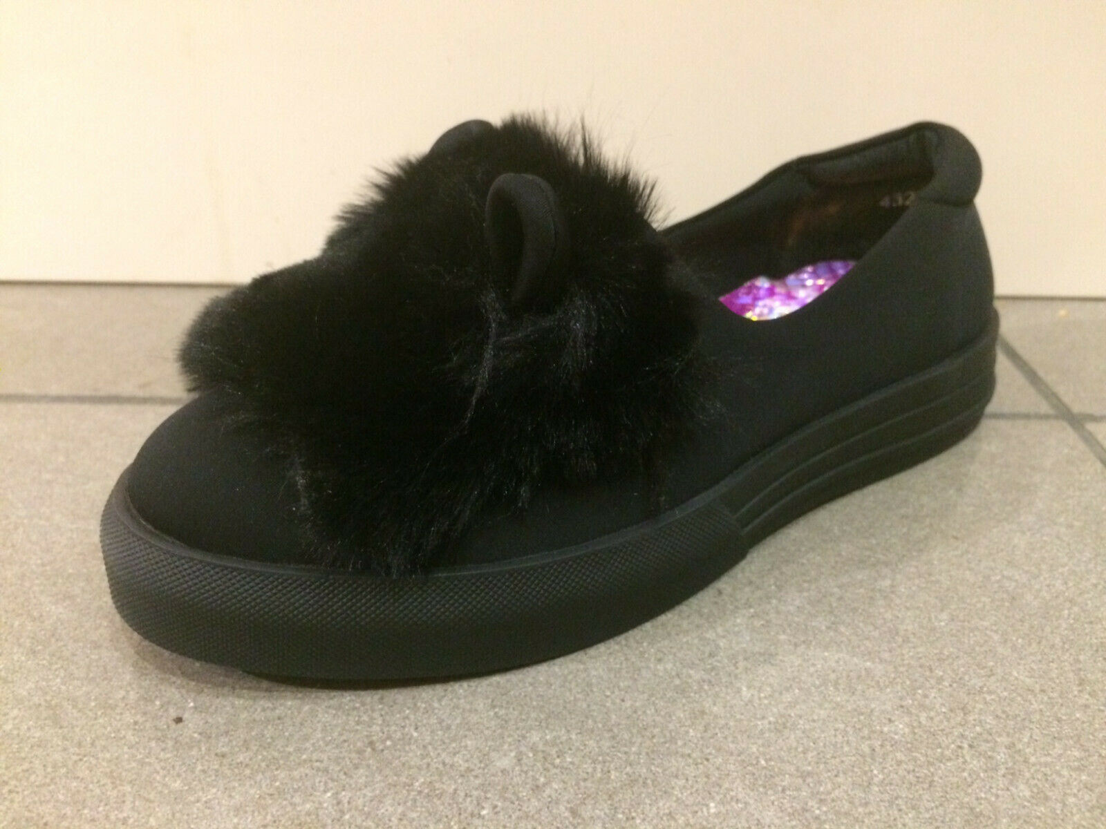 Irregular Choice 'Pretty Kitty' (EIN) Schwarz Flache Slipper Cat Schuhe