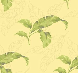 Wallpaper-Designer-Large-Tropical-Green-Palm-Leaves-on-Yellow-Background
