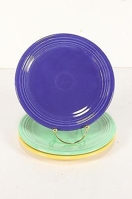 Vtg Homer Laughlin Fiestaware Original FIESTA 3 Salad Cake Plates Blue Green
