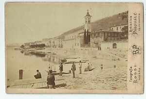 1870ca BELGIRATE Verbania Lago Maggiore foto all'albumina Bossi Pasquale 14x10cm
