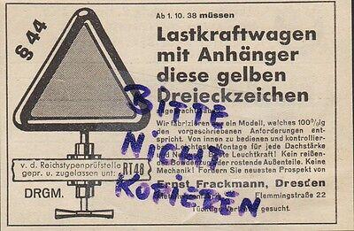 Dresden, Werbung 1938, Ernst Frackmann Warn-dreiecke Auto-reifen Reifen Kfz Lkw Elegant Und Anmutig