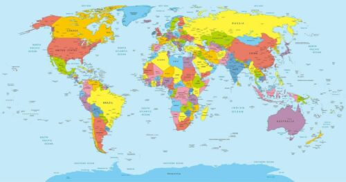Map of The World Detailed Large Educational Geological Poster Sizes A1 A2