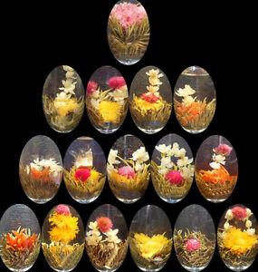 10 Blooming Flower Flowering Jasmine Green Chinese Tea Ball Handmade In Bag Xe 701828266639