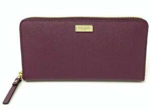 NWT-Kate-Spade-Neda-Burgundy-Leather-ZipAround-Wallet-WLRU2669-Laurel-Way-189