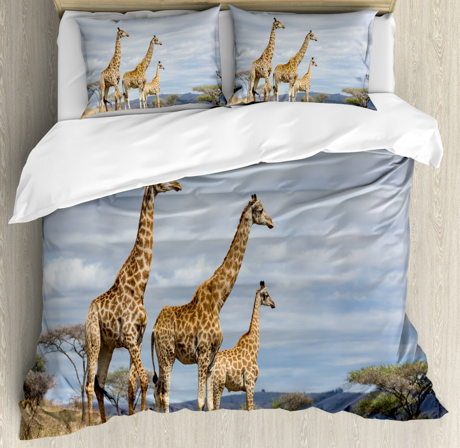 Wildlife Duvet Cover Set with Pillow Shams African Giraffe Family Print