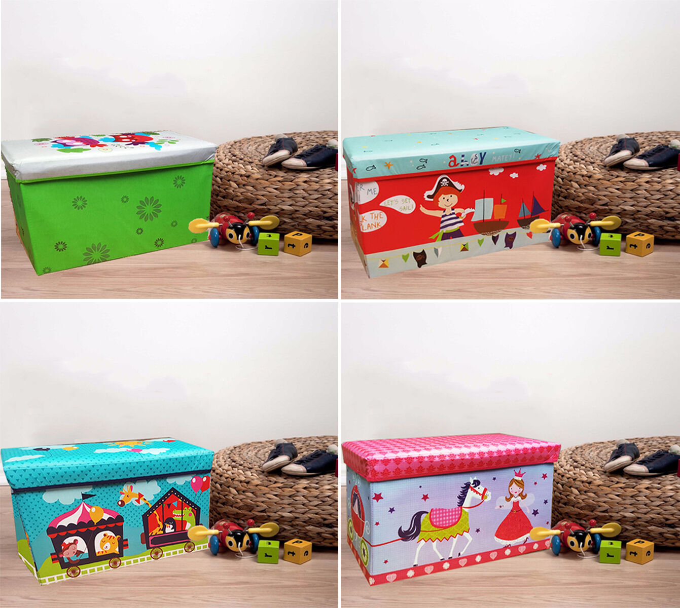 large kids childrens large storage toy box boys girls books chest clothes padded ebay. Black Bedroom Furniture Sets. Home Design Ideas