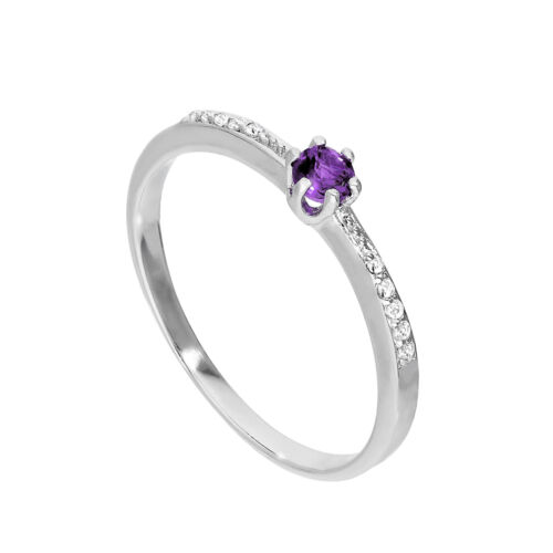 Sterling Silver /& Genuine Amethyst Ring w Clear CZ Crystals on Shoulders I U
