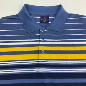 Brooklyn Xpress Polo Shirt Men's 2XL XXL Short Sleeve Blue Striped Poly Blend