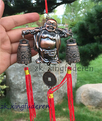 Chinese old style buddha fengshui dragon sound aeolian bells metal lucky statue