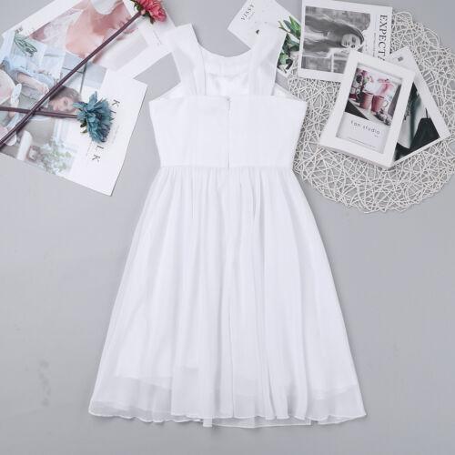 Flower Girl Dress Kids Formal Pageant Wedding Bridesmaid Prom Knee Length Dress