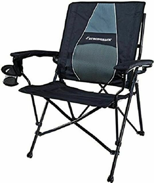 Strongback Elite Folding Camping Lawn Lounge Chair Heavy Duty Camp Outdoor Seat With Lumbar Support And Portable Carry Bag Sareg Com