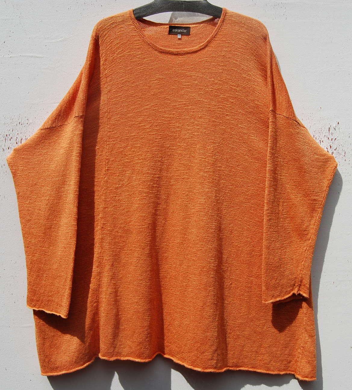 NEW Eskandar Orange Handloomed Linen Viscose Long A-Line Tunic Sweater O S  1095