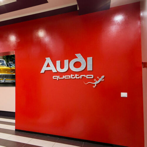 Audi quattro Sign Garage logo Brushed Silver Aluminum Gift  Logo 5 feet wide