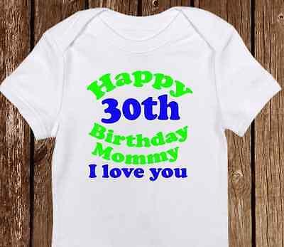 Baby Boy or Girl Happy Birthday Mommy Onesie Custom Made for Mom/'s Birthday