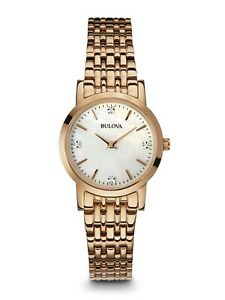 Bulova-Women-039-s-Quartz-Rose-Gold-Tone-Diamond-Accents-Bracelet-27mm-Watch-97P106