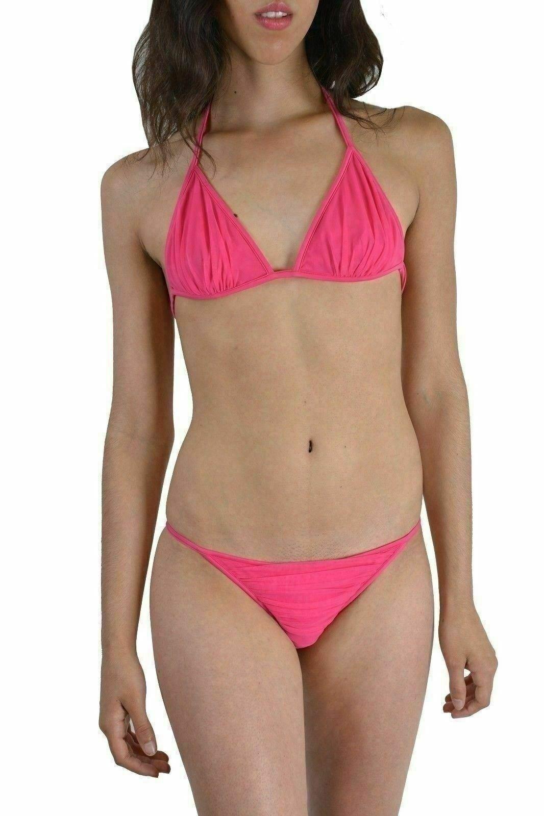 5f54b85a382c Dsquared rosa Metallo Dettaglio Decorato Due Pezzi Pezzi Pezzi Costume da  Bagno Bikini USA L e848c0