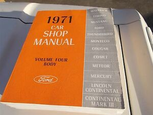 NOS 1971 FORD MUSTANG TORINO MAVERICK USING TECHNICAL SERVICE MANUALS SHOP BOOK