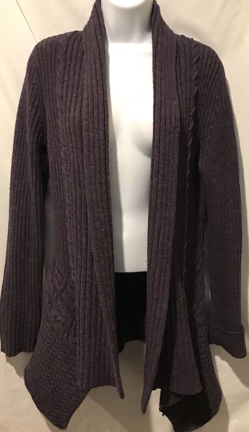 Anthropologie CANARY CANARY CANARY Cardigan Sweater Purple Women's Ribbed Wool Tunic Sz M 7c7073