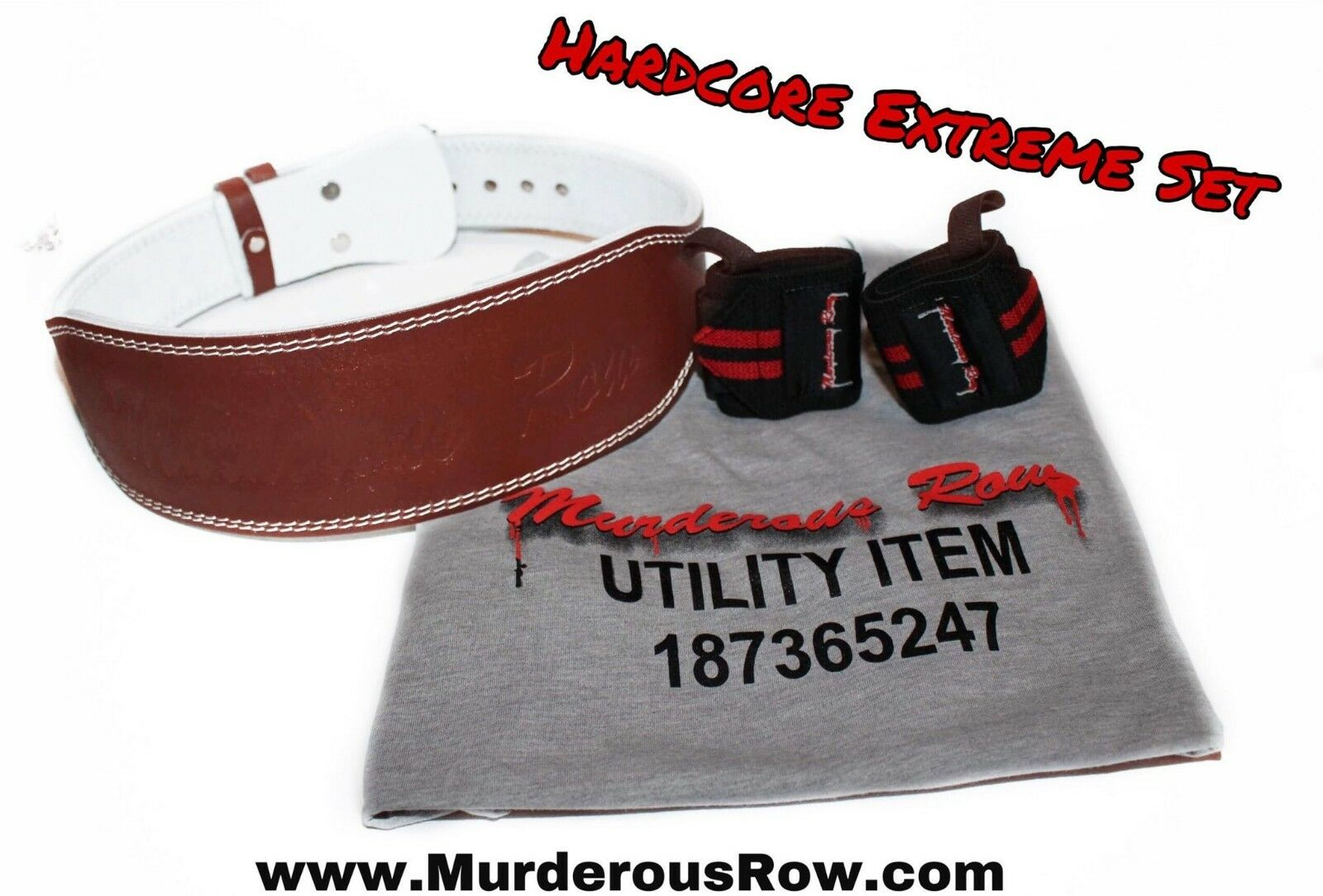Murderous Row WeightLifting Genuine  Leather Belt (LARGE) + Wrist Wraps + Shirt  outlet online