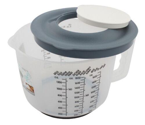 Messbecher Mixbecher mit Handgriff 2 Liter Skala Deckel und Spritzschutzdeckel