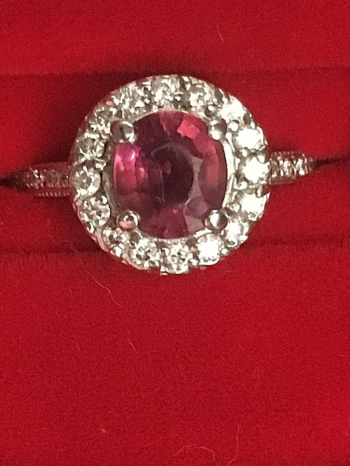 Approx. .65ct Tourmaline Halo with SI .32ctw Diamond 18kt White gold Ring