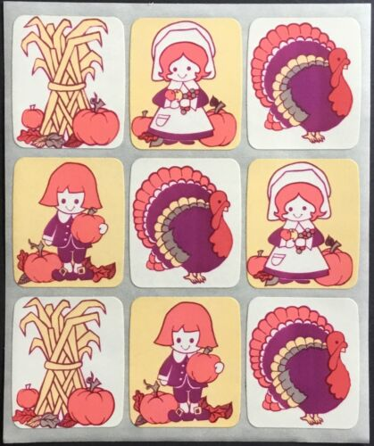 Thanksgiving Hallmark Mint Condition!! Adorable Very Vintage Stickers