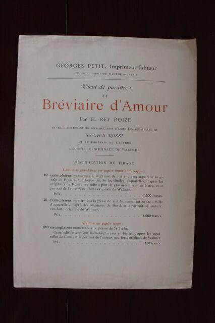 ✒ VIENT de PARAITRE H REY ROIZE Le bréviaire d'amour 1897 Lucius ROSSI