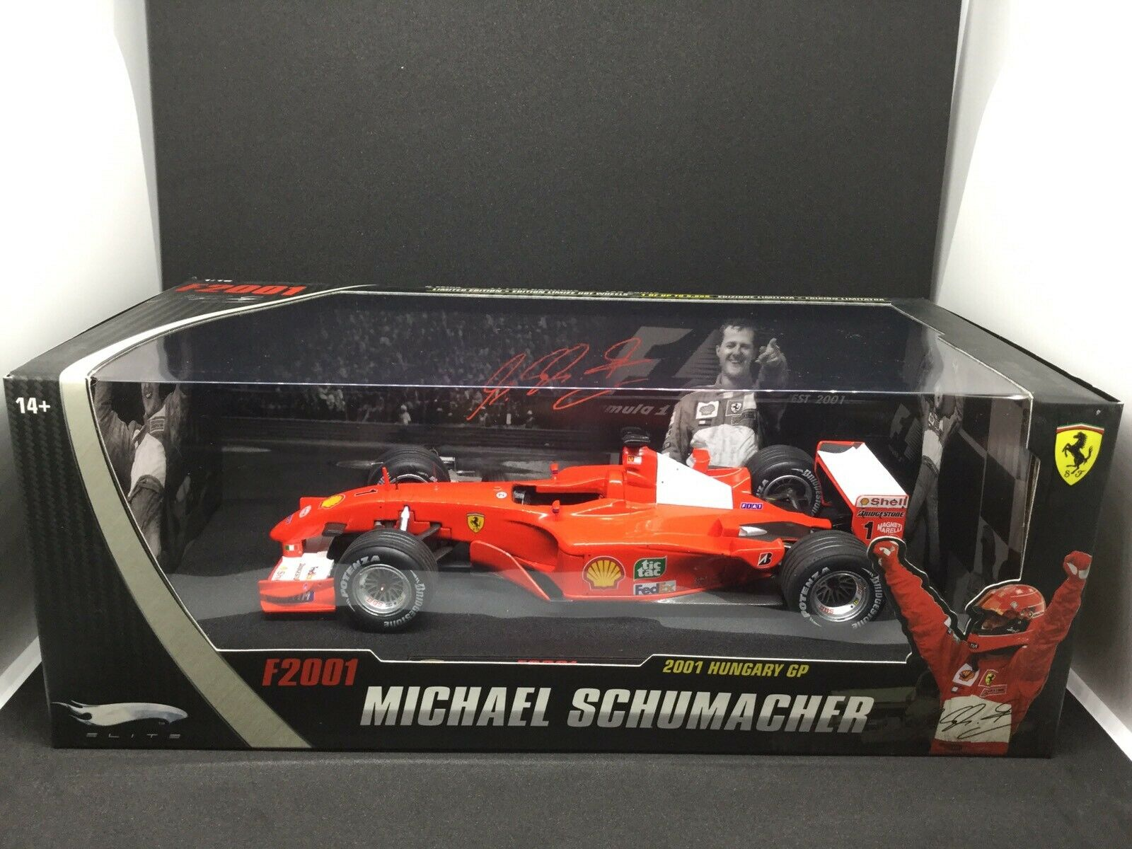 venta al por mayor barato FERRARI F2001 Schumacher Schumacher Schumacher Hungary Gp Scala 1 18 Hot Wheels Elite Limited Edition  Las ventas en línea ahorran un 70%.