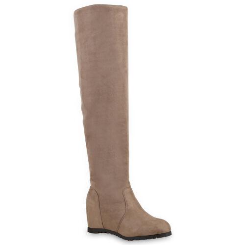 Damen Stiefel Keilabsatz Overknees Wedges Boots Schuhe 813514 Trendy Neu
