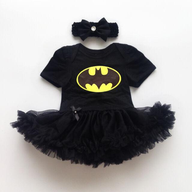 Newborn Infant Baby Girl Batman Romper Bodysuit Dress Clothes Photo Outfits