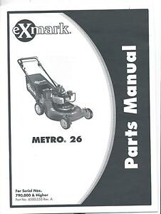 exmark metro 26 walk behind parts manual part 4500 350 revision a rh ebay com Exmark Metro 36 Grass On Exmark