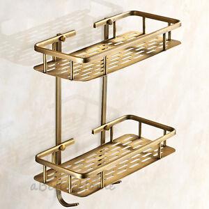 2 tier bathroom shower tub corner shelf wall mounted brass storage holder basket ebay for Corner shelves for bathroom wall mounted