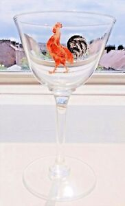 Art-Deco-Steven-amp-Williams-Crystal-Cocktail-Glass-with-Enamel-Cockerel-5-5-in-039-s