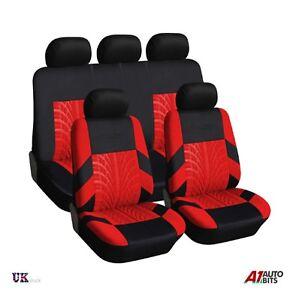 2 Noir Rouge Motif Voiture Avant Housses De Siège Protecteurs pour Peugeot 307