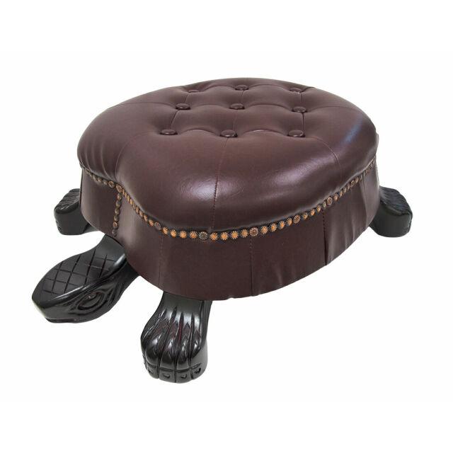 Zeckos Elegant Walnut Finish Turtle Ottoman Foot Stool